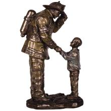 COLD CAST RESIN CHILD THANKING FIREMAN H: 8 1/2