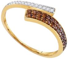 10kt Yellow Gold Womens Round Cognac-brown Colored Diamond Bypass Band 1/4 Cttw