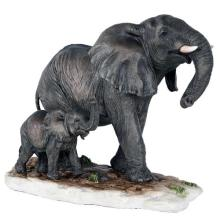 HAND PAINTED COLD CAST RESIN ELEPHANT WITH BABY 9 1/4