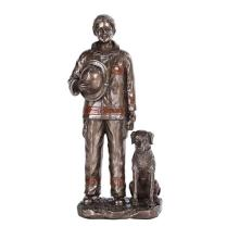COLD CAST RESIN LADY FIREFIGHTER WITH DOG