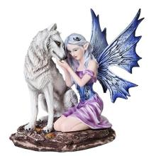 HAND PAINTED RESIN FAIRY WITH WOLF 6 1/2
