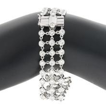 18KT White Mesh 3-Row Diamonds Hvy