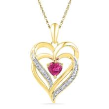 10kt Yellow Gold Womens Round Lab-Created Pink Sapphire Double Heart Pendant .01 Cttw