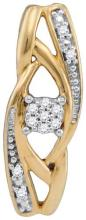 10kt Yellow Gold Womens Round Diamond Vertical Suspended Cluster Pendant .03 Cttw