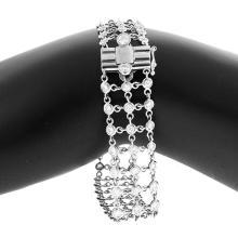 18KT White Mesh 3-Row Diamonds
