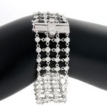 18KT White Mesh 4-Row Diamonds