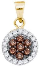 10kt Yellow Gold Womens Round Cognac-brown Colored Diamond Framed Flower Cluster Pendant 3/8 Cttw