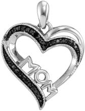 Sterling Silver Womens Round Black Colored Diamond Mom Mother Heart Pendant 1/10 Cttw