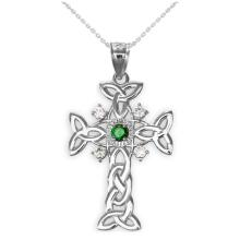10K White Gold Celtic Knot Trinity Cross Diamond Pendant with Genuine Emerald APPROX .30 CTW