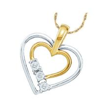 14kt Yellow Two-tone Gold Womens Round Diamond Double Heart Outline Pendant .03 Cttw
