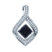 10kt White Gold Womens Round Black Colored Diamond Diagonal Square Teardrop Frame Pendant 1/6 Cttw
