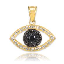 10K Gold Evil Eye Pendant with Clear and Black Diamonds