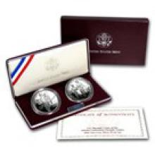 1995-P 2-Coin Olympic Blind Runner-Gymnast & Prf Set (Box/COA)