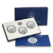 1983 3-Coin Olympic Set BU (P,D,S Dollars, w/Box & COA)