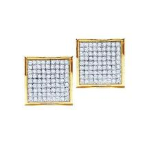 10kt White Gold Womens Round Yellow Colored Diamond Square Kite Cluster Earrings 1/6 Cttw