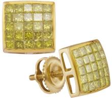 10kt Yellow Gold Womens Princess Yellow Colored Diamond Square Cluster Earrings 1.00 Cttw