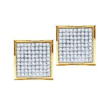 14kt White Gold Womens Round Pave-set Diamond Square Cluster Earrings 7/8 Cttw