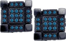 10kt White Black-tone Gold Womens Round Blue Colored Diamond 3D Cube Square Cluster Earrings 1/3 Cttw