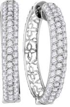 10kt White Gold Womens Round Pave-set Diamond Triple Row Hoop Earrings 3-1/2 Cttw