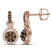 10kt Rose Gold Womens Round Cognac-brown Colored Diamond Cluster Dangle Earrings 1/2 Cttw