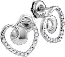 10kt White Gold Womens Round Diamond Heart Screwback Earrings 1/4 Cttw