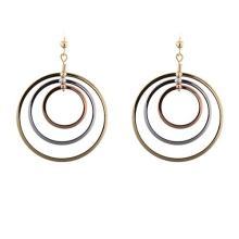 14KT Yel/W/Pink Tri-Circle Earrings