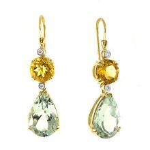 14KTY Earrings Citine/G.Amethyst