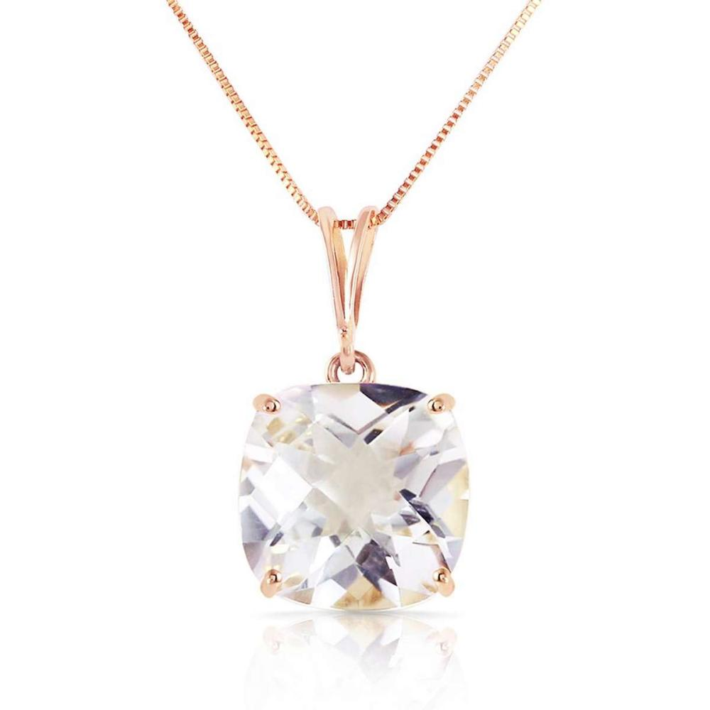3.6 Carat 14K Solid Rose Gold Necklace Natural Checkerboard Cut White Topaz