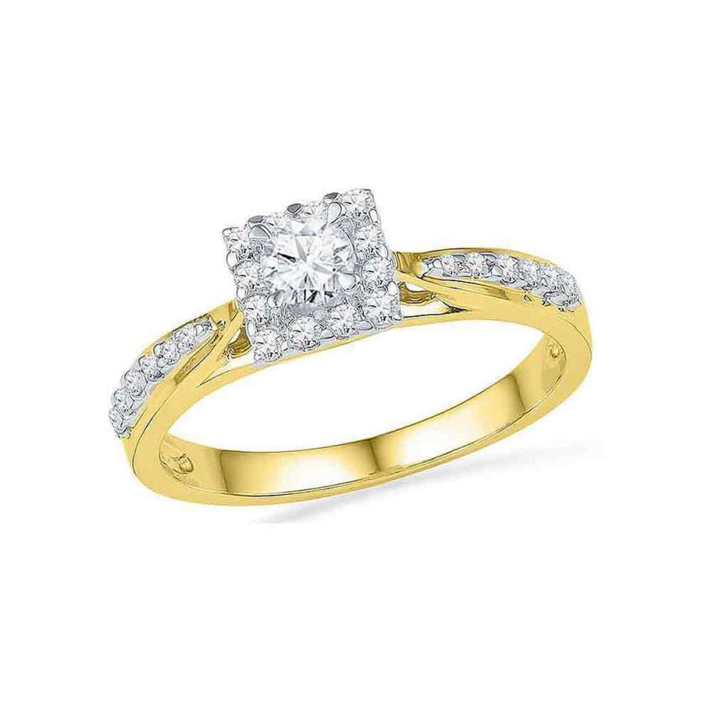 10k Yellow Gold Round Diamond Square Halo Bridal Wedding Engagement Ring 3/8 Ctw