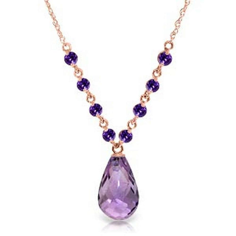 14K Solid Rose Gold Necklace with Natural Purple Amethysts
