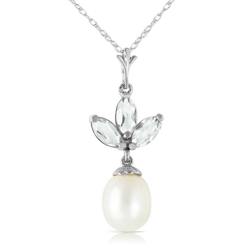 4.75 Carat 14K Solid White Gold Necklace pearl Green Amethyst