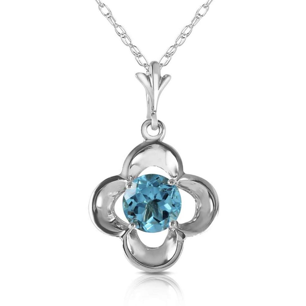 0.55 Carat 14K Solid White Gold Try Again Blue Topaz Necklace