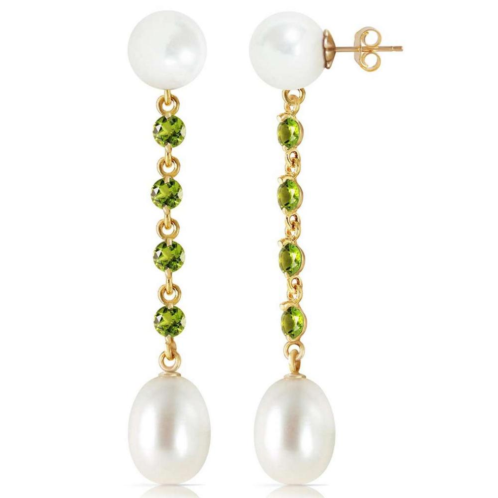 11 CTW 14K Solid Gold pearly View Peridot pearl Earrings