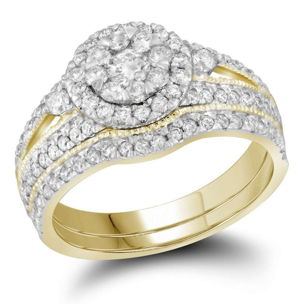 14kt Yellow Gold Round Diamond Cluster Bridal Wedding Engagement Ring Band Set