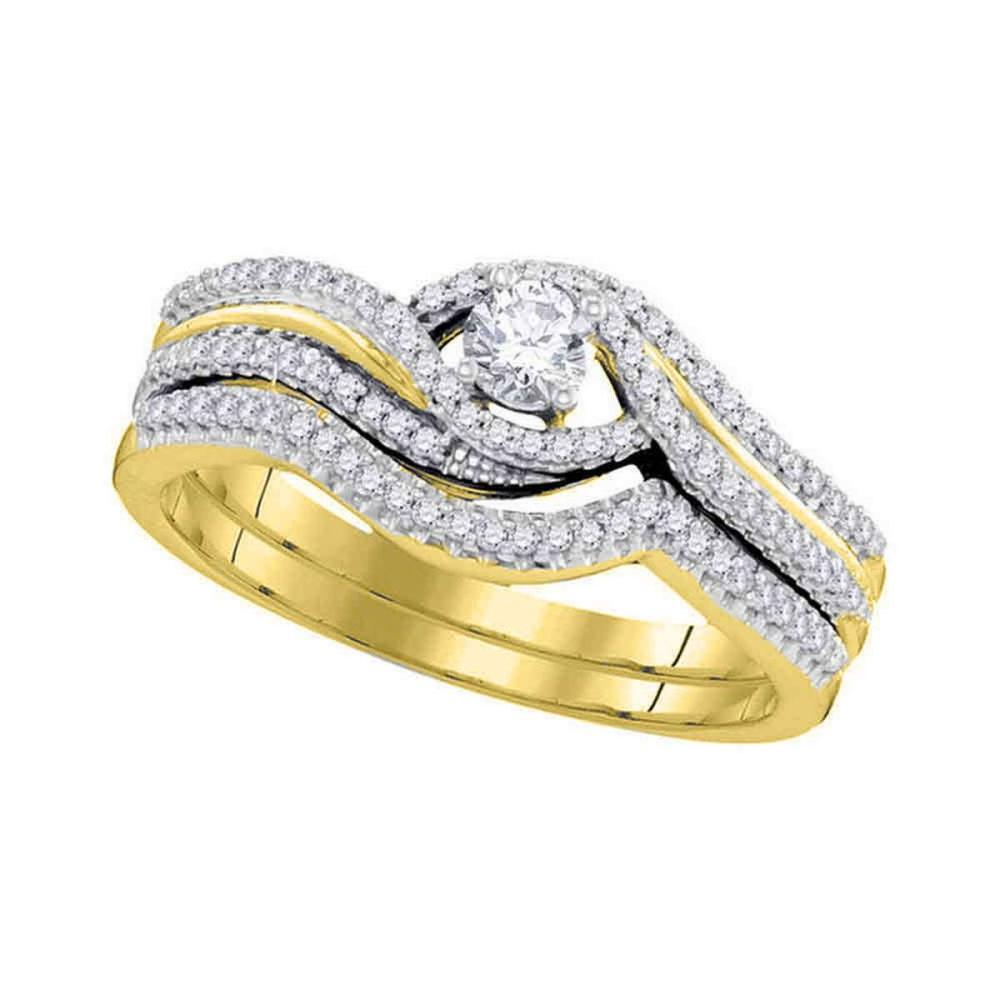 10kt Yellow Gold Round Diamond Bridal Wedding Engagement Ring Band Set 3/8 Ctw