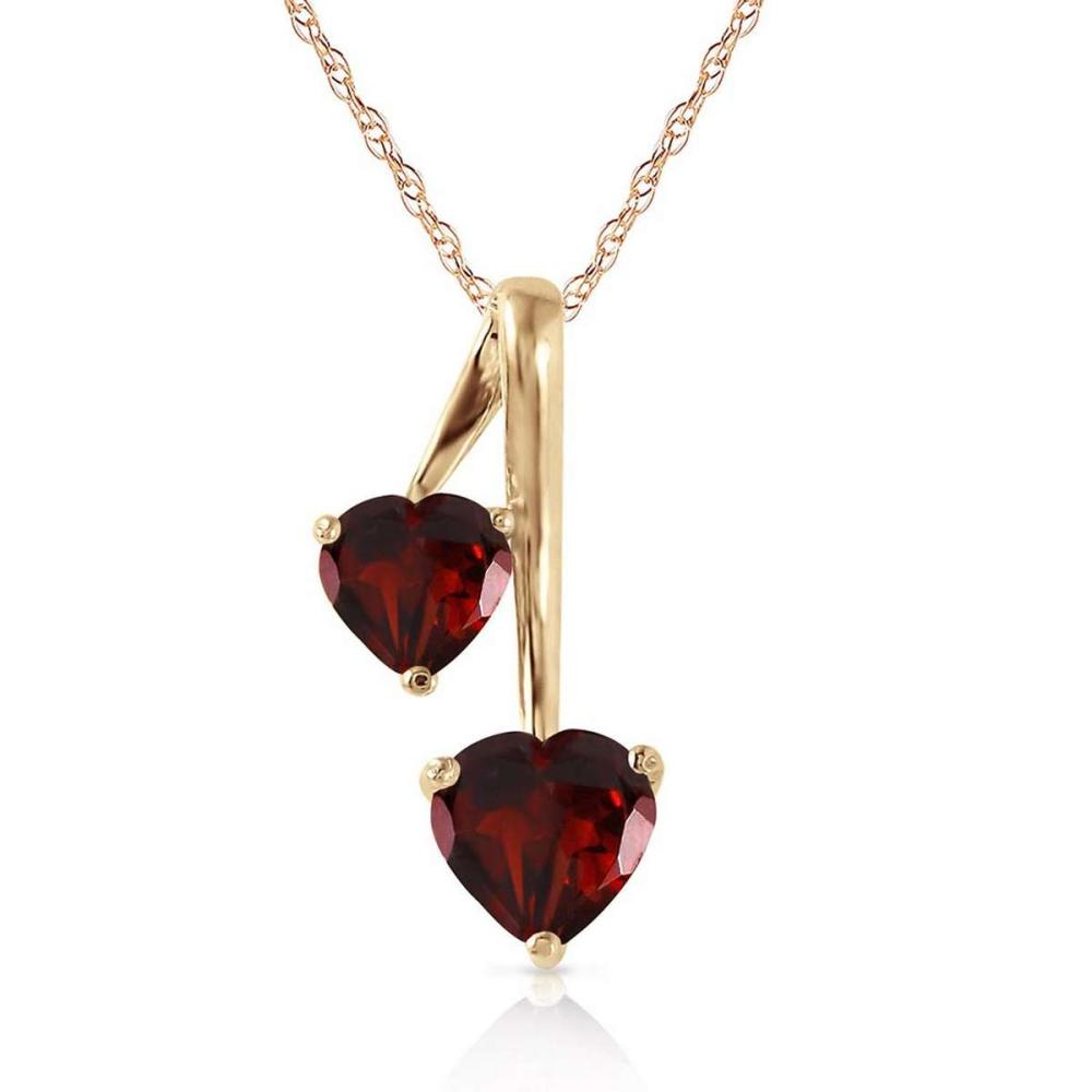 1.4 Carat 14K Solid Gold Hearts Necklace Natural Garnet