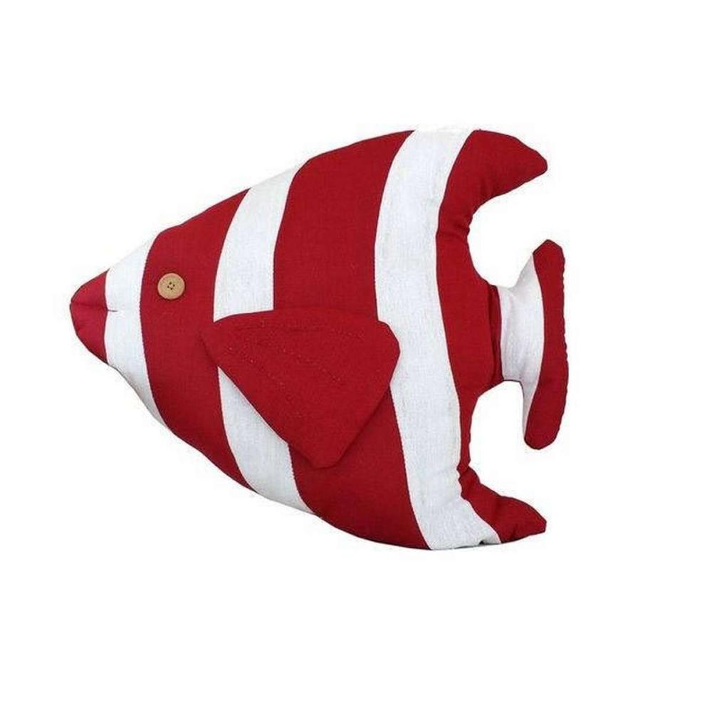 Red Tropical Fish Pillow 18 in.