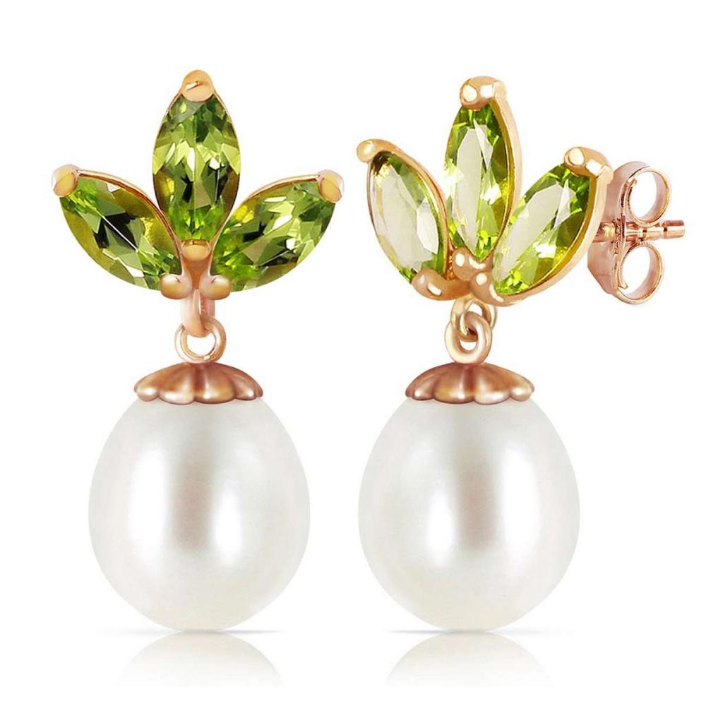14K Solid Rose Gold Dangling Earrings with pearls & Peridots