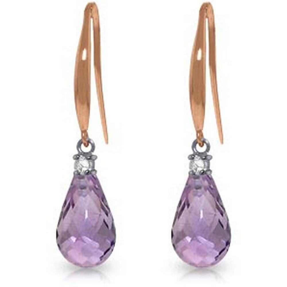 14K Solid Rose Gold Fish Hook Earrings withDiamonds & Amethyst