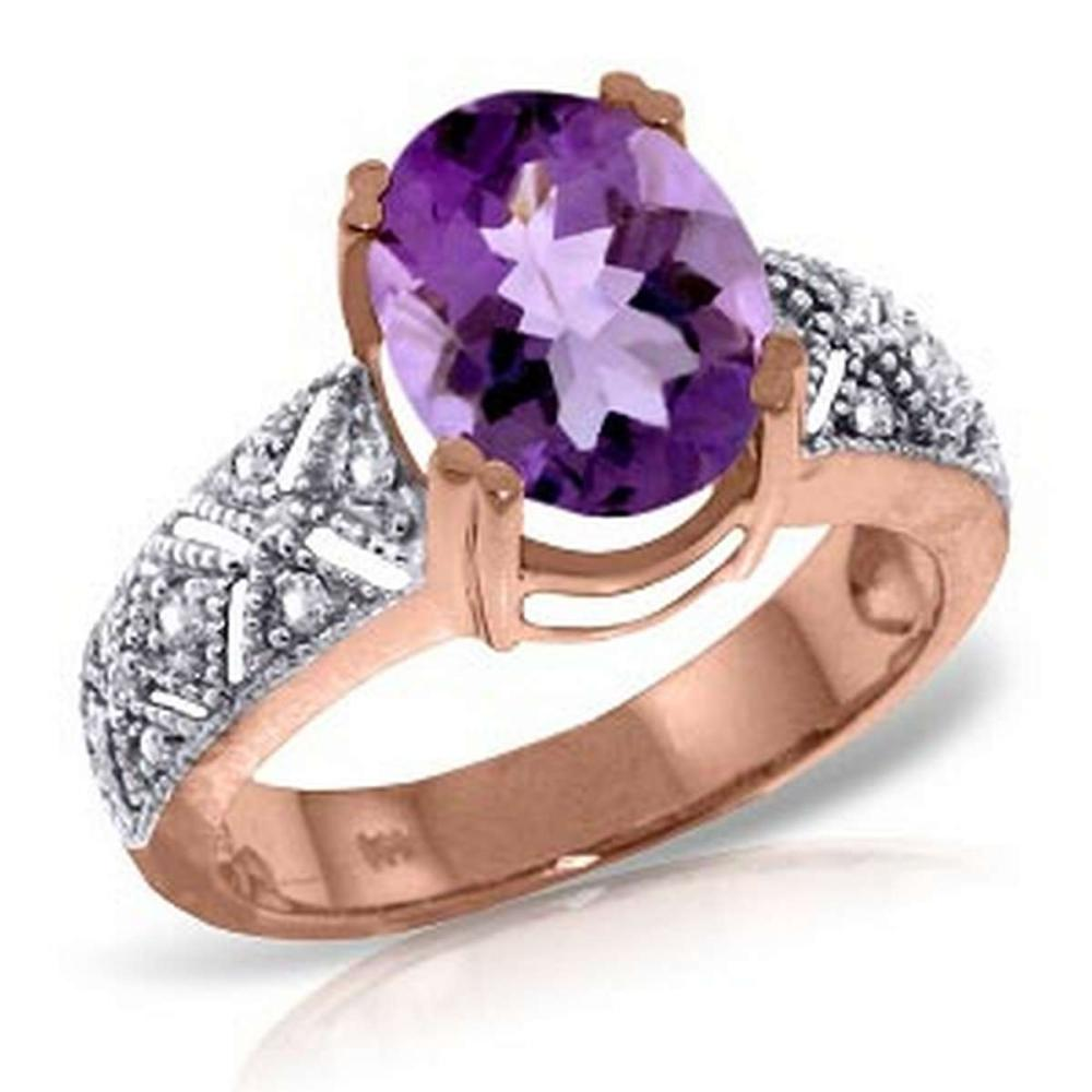 14K Solid Rose Gold Ring withNatural Diamonds & Purple Amethyst