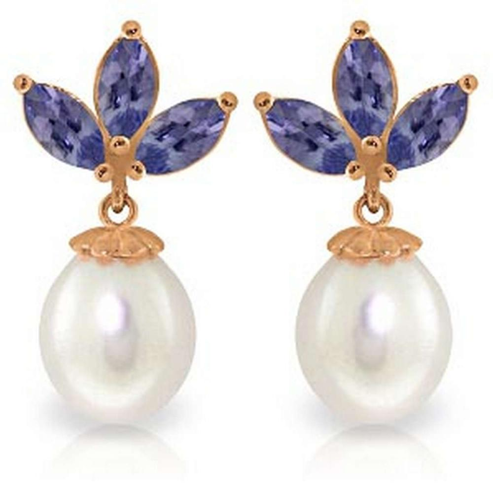 14K Solid Rose Gold Dangling Earrings with pearl & Tanzanite