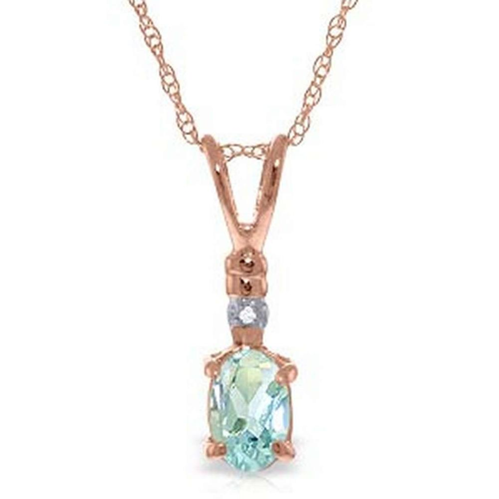 14K Solid Rose Gold Necklace withNatural Diamond & Aquamarine