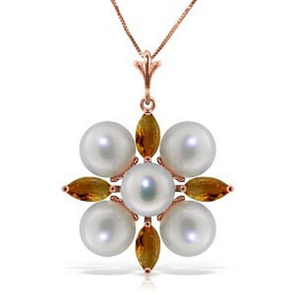 6.3 CTW 14K Solid Rose Gold Snowflake pearl Citrine Necklace