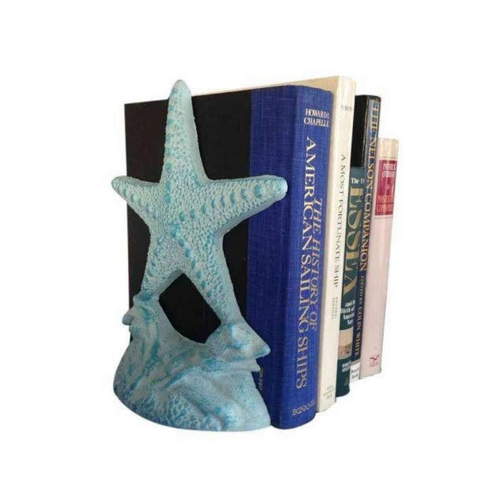 Set of 2- Light Blue Whitewashed Cast Iron Starfish Book Ends 11 in.
