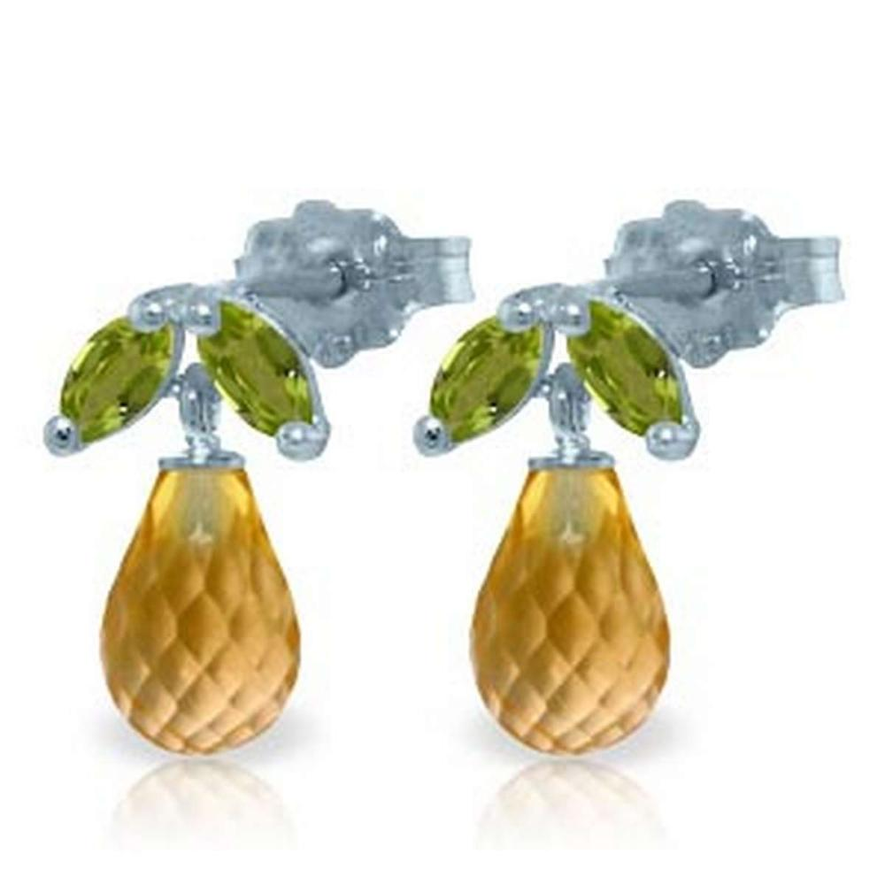 3.4 Carat 14K Solid White Gold Stud Earrings Peridot Citrine