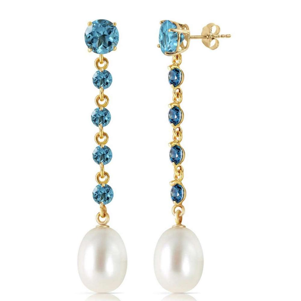 10 CTW 14K Solid Gold Chandelier Earrings Blue Topaz pearl