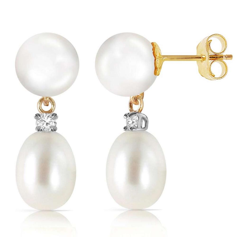 10.1 Carat 14K Solid Gold Not Faded Love pearl Diamond Earrings