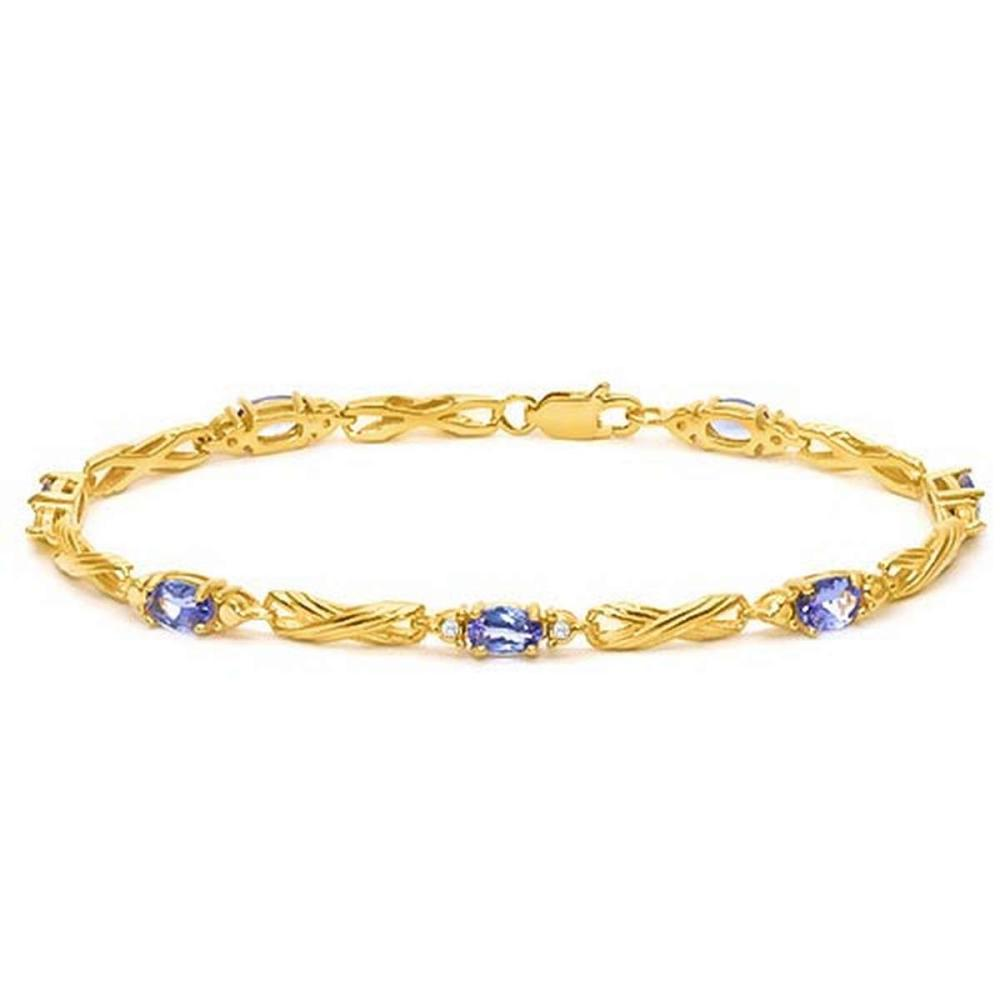 3.36 CTW EGYPT BLUE TANZANITE 925 STERLING SILVER YELLOW GOLD PLATED BRACELETT