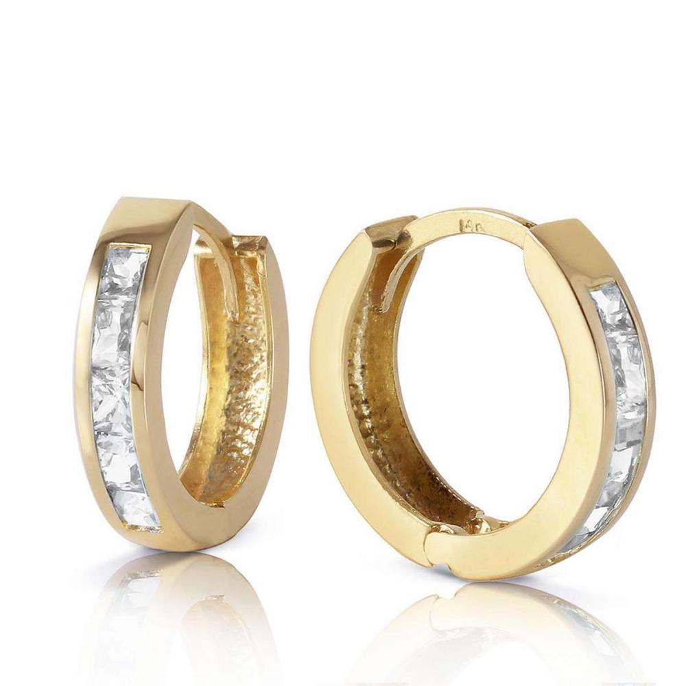 1.2 Carat 14K Solid Gold Hoop Huggie Earrings White Topaz