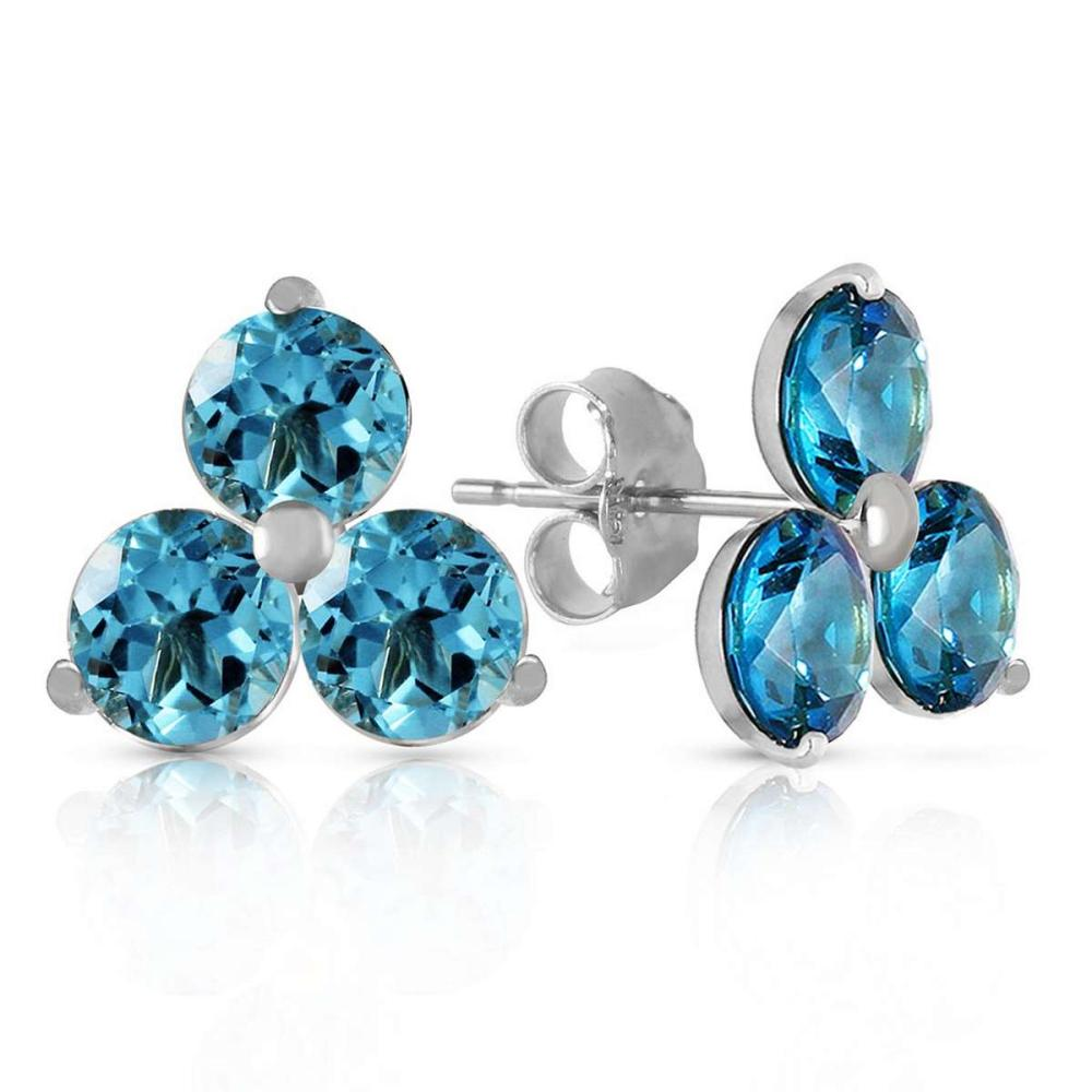1.5 Carat 14K Solid White Gold Coeurs De Papier Blue Topaz Earrings